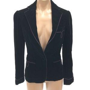 RALPH LAUREN  6 Black Velvet One Button Blazer